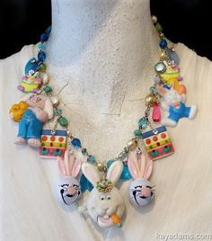 A6603 [A6603] - $195.00 : Kay Adams, Anthill Antiques, Jewelry and Chandelier Heaven. the ultimate easter bunny necklace.  middle rabbit is a wind-up toy. too kitschy fun! #gottagettakay