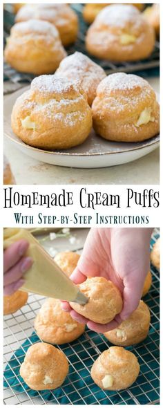 Homemade CREAM PUFFS completely from scratch! Step-by-step instructions for how … Homemade CREAM PUFFS completely from scratch! Step-by-step instructions for how to make cream puffs or profiteroles at home. Easy Choux pastry/ Pate a choux recipe! Dessert Simple, Pasta Choux Receta, Donut Recipes, Baking Recipes, Köstliche Desserts, Dessert Recipes, Plated Desserts, French Desserts, Profiteroles Recipe
