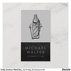 Lady Justice | Real Estate | Leather Trim Business Card Minimalist Business Cards, Elegant Business Cards, Cool Business Cards, Business Card Design, Lawyer Logo, Lawyer Business Card, Real Estate Gifts, Lady Justice, Attorney At Law