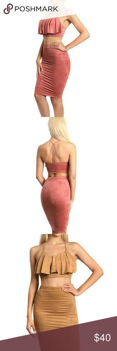 Suede spaghetti strap crop top with flared Suede spaghetti strap crop top with flared overlay and a high waist pencil skirt with elastic lining to secure. Has lining underneath for coverage.  Content:95% Polyester 5% Spandex ComeCorrect Dresses Midi