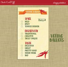 Instant Download! Chili Cook Off Voting Ballot / Invitation Printable DIY Chili Bundle / Hot Pepper and Chili Pot Theme / Fall Party by sfmprintables