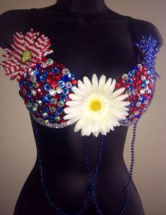 Women's Patriotic USA America Red White Blue Rhinestone EDC Rave Festival Bra on Etsy, $29.99