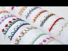 hand embroidery stitches tutorial step by step Hand Embroidery Projects, Basic Embroidery Stitches, Hand Embroidery Videos, Embroidery Flowers Pattern, Creative Embroidery, Simple Embroidery, Silk Ribbon Embroidery, Embroidery For Beginners, Hand Embroidery Designs