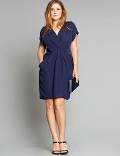 Manon Baptiste V-neck chiffon dress in Dark-Blue