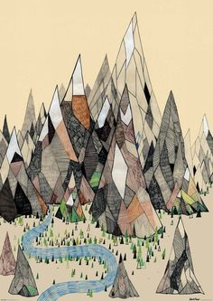 fantastical mountain scene with river and fir trees