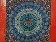 - Cotton - Imported - Peacock Feather Blue Color Tapestry wall hanging - Can Be used as Bedspread, Picnic Blanket - Blue Color - Mandala - 140 x 220 Cms Mandala Tapestry