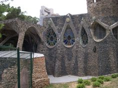 Guell Crypt. 1908-1914. Chapel in the Colonia Guell in Santa Coloma de Cervello (Catalonia, Spain). Antoni Gaudi.