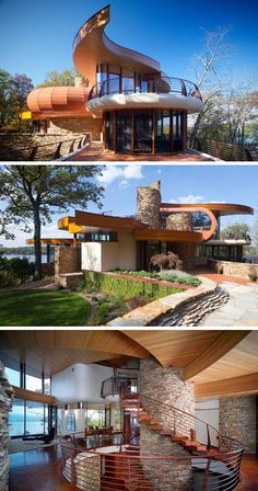 Unique House - Love the curves and materials used Chenequa Residence, Robert Harvey Oshatz Architect, USA, Wisconsin Organic Architecture, Futuristic Architecture, Beautiful Architecture, Residential Architecture, Interior Architecture, Building Design, Building A House, Robert Harvey, Architecture Organique