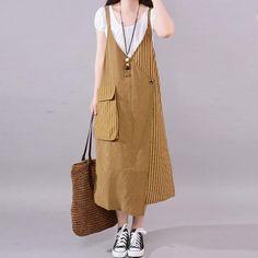 Fine cotton blended summer dress plus size Casual Stripe Big Pocket Loose Suspender Dress - Cute Outfits Dress Outfits, Casual Dresses, Dresses Dresses, Dance Dresses, Dress Plus Size, Plus Size Outfits, Big Size Fashion, Sleeveless Outfit, Suspender Dress