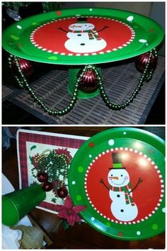 Christmas DIY Cake Stand: Christmas Plastic Plate, Glitter Plastic Tin Can from 99cent Store. To decorate I used Beads, Tree Ornaments with Hot Glue $2project