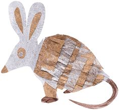 Collage and decorate your own cardboard bilby.