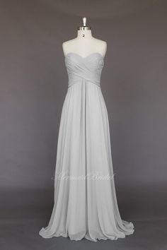 Silver Simple style Chiffon Long Bridesmaid Dress by MermaidBridal, $129.99