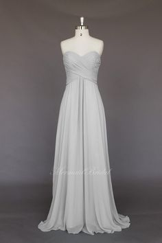 Silver Simple style Chiffon Long Bridesmaid Dress, Bridesmaid gown, wedding party dress With Sweetheart Neckline