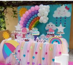 Rain of love party: the decoration for this birthday - Fashion Parties - Rain of love party: the decoration for this birthday – Fashion Parties - Rainbow Parties, Rainbow Birthday Party, Unicorn Birthday Parties, Baby Birthday, First Birthday Parties, Birthday Party Decorations, Girl Parties, Cloud Party, Gateau Baby Shower