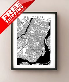 Montreal Map  More Sizes Available   Black and by CartoCreative, $20.00