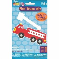Fire Truck Foamies Craft Kit (Easy To Make, Just Add Glue),fireman party activity,fire engine craft,rainy day activity boy,make a fire engine,boy birthday party activity,Craft Kits