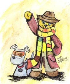 The Fourth Doctor - Tom Baker  This was my Doctor it was the Monsters he faced that had me hiding behind the sofa. He is also the most recognizable regeneration and in many ways helped define the character. Joined by his Robotic Dog K9 this illustration was finished in black ink and watercolor pencil.