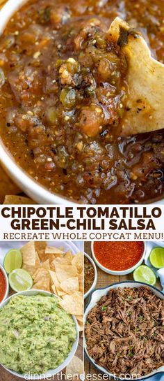 Chipotle Tomatillo Green Chili Salsa is smoky and spicy, with lemon and lime juice and fresh cilantro, you can make this copycat at home in 30 minutes! Roasted Salsa Recipe, Roasted Tomatillo Salsa, Tomatillo Sauce, Spicy Salsa, Salsa Picante, Chili Salsa Recipe, Green Salsa Recipes, Cooking, Chilis