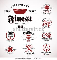 Set of Vintage Hot Dog Labels or Signs With Retro Typography Hot Dog, Fork, Knife, Sauce, Meat, Mustard and Beer. Isolated - stock vector
