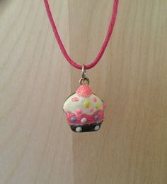 Cupcake Pendant Necklace / Cupcake Charm on a Pink Cord / Girl's Necklace / Women's Necklace / Cupcake Necklace / Pink Necklace by RevealedTreasuresByL on Etsy