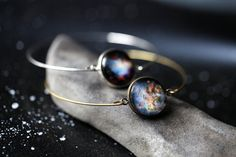 Galaxy Space Bracelet -  Universe Jewelry - Petite Solar System Planet and Nebula Cuff Bracelet - Bridesmaid Gift, Bronze or Silver