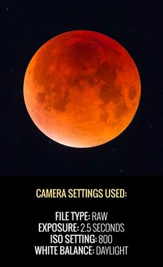 Recommended camera settings to photograph a total lunar eclipse using a DSLR and telescope. (AstroBackyard) Photography Photography: Camera settings for Lunar Eclipse Dslr Photography Tips, Photography Cheat Sheets, Photography Challenge, Photography Lessons, Photography Equipment, Night Photography, Photography Tutorials, Creative Photography, Digital Photography