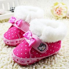 "Introducing the new,""Hello Kitty Winter Boots,"" available now at LULUBYE. Purchase these boots for your young daughter for the upcoming winter season. Designed with warm faux fur lining, these prewalk"