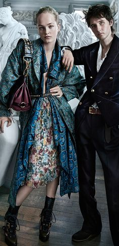 Flowing printed silk and The Bridle Bag in wine and black. The Burberry September campaign starring Jean Campbell and Cavan McCarthy.