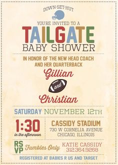 Baby Shower Invitation : Tailgate Football Theme