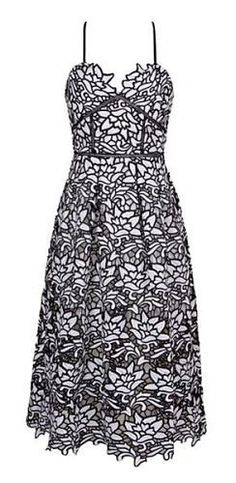 Wilda Black and White Lace Dress