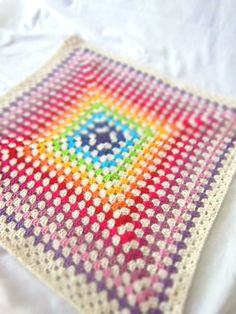 Rainbow Crochet Baby Blanket 38 Granny Square Afghan by dodofit, $124.00