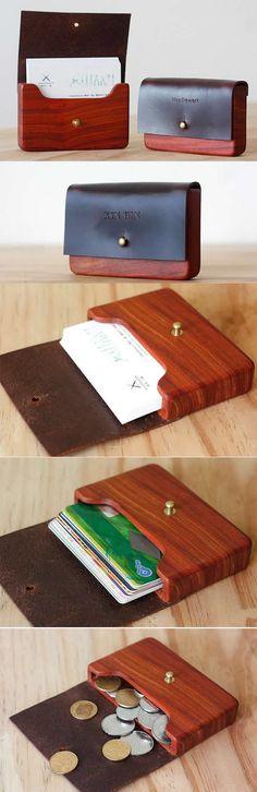 Handmade Wooden Coin Purse Wallet Credit Card Holder Business Card Holder