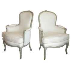 Pair of 18th Century French Grey Painted Bergeres