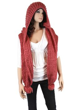 Knitted Scarf with Hood in Pink
