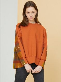MILLOGREM: PLEATED SWEATSHIRTS - ORANGE