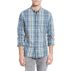 Surfside Supply 'Crinkle Beach Plaid' Trim Fit Sport Shirt ($115) ❤ liked on Polyvore featuring men's fashion, men's clothing, men's shirts, men's casual shirts, blue, mens long sleeve button up shirts, mens slim fit casual shirts, mens button down shirts, mens sport shirts and mens beach shirts