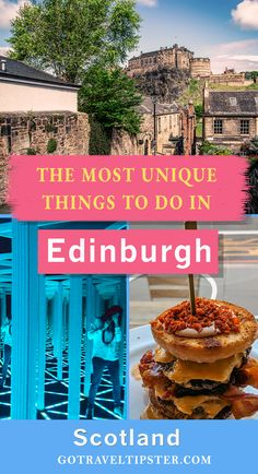 Explore some weird, beautiful and downright strange things to see, eat and do in Edinburgh, Scotland.  From a donut burger (better than it sounds) to the terrifying hall of mirrors, and the mining museum of Scotland, this list includes many interesting Edinburgh attractions other travelers will miss.