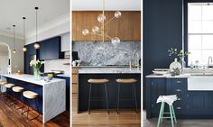 Image result for navy and timber kitchen or navy and marble