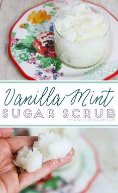 Vanilla Mint Sugar Scrub Recipe on www.girllovesglam.com