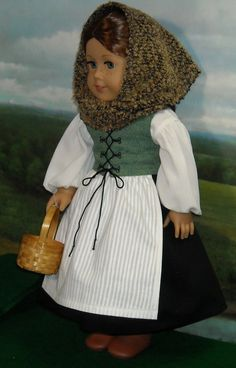 Celtic Lass Outfit With Waistcoat And Shawl For 18 Inch Dolls