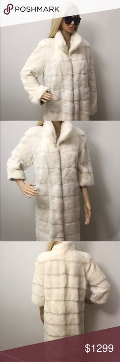 """Georgeous Luxury Mink Fur Coat White Pearl Luxury Natural 100% White Mink Fur Coat top quality. Full Pelt Mink  Length 39"""" Sleeve adjustable with zipper  17"""" (3/4) and 25"""" (full) Lightweight mink fur coat perfect to wear as casual and special occasions as well, you can belt the coat to get absolutely new style, basically, with adjustable sleeves as well you will get fur coat transformer.  Zebra printed silk-blended lining has hidden inside pocket.  The coat has been very well cared  No…"""