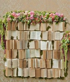 20 Books And Flowers Wedding Photo Booth Backdrop