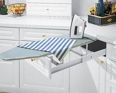 ironing board in cabinet....neat idea.  Don't think I'll do it but it is clever.