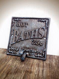 BOLD slate blue grey & bronze glaze BATH sign towel hook // vintage inspired // cottage chic  // wall hook // cast iron decor // shabby CHIC
