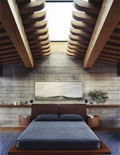 amazing skylight of course. I also love the concrete wall with the single long shelf.