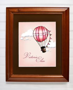 Pink Hot Air Balloons, personalized art print