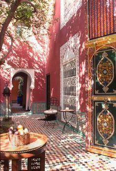 -Sun-dappled courtyard at Riad Kaiss in Marrakech, Morocco by Eva0707<3