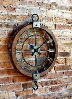 Vintage Industrial Pulley Clock 62392