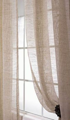 Sheer linen curtains,I would love something like this in my bedroom