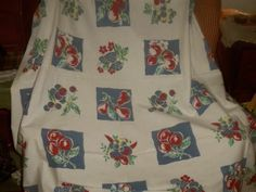 """Vintage 50s large Fruit cherries strawberies cottage tablecloth 50"""" by 64"""" kitch"""
